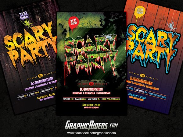 Scary Party Flyer Templates