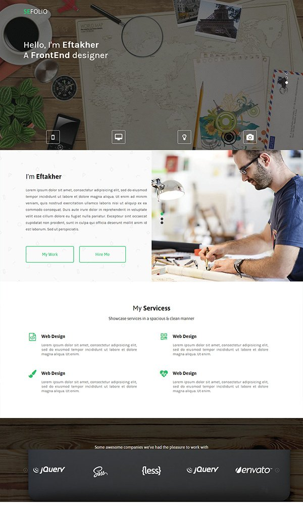 SeFolio – One Page Responsive Bootstrap Template