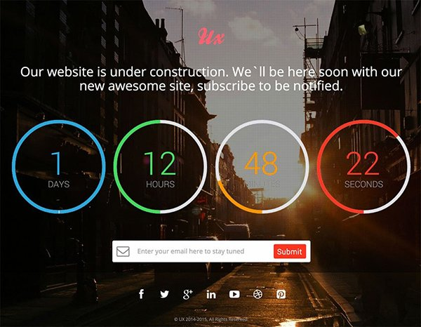 UX – Free Responsive Coming Soon Countdown Template