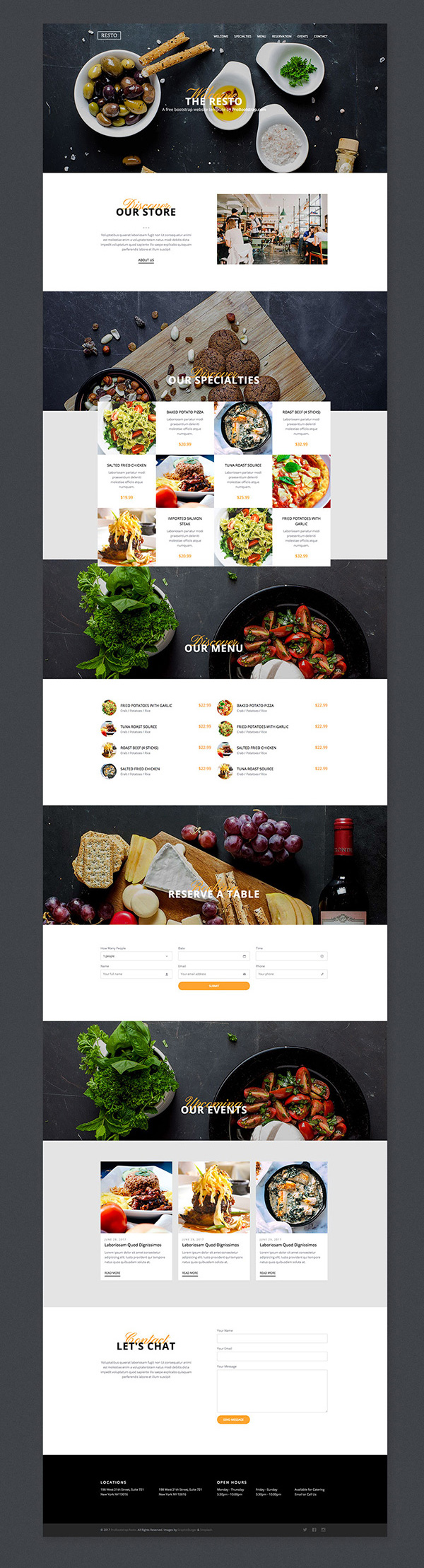 Resto – Responsive Bootstrap Template