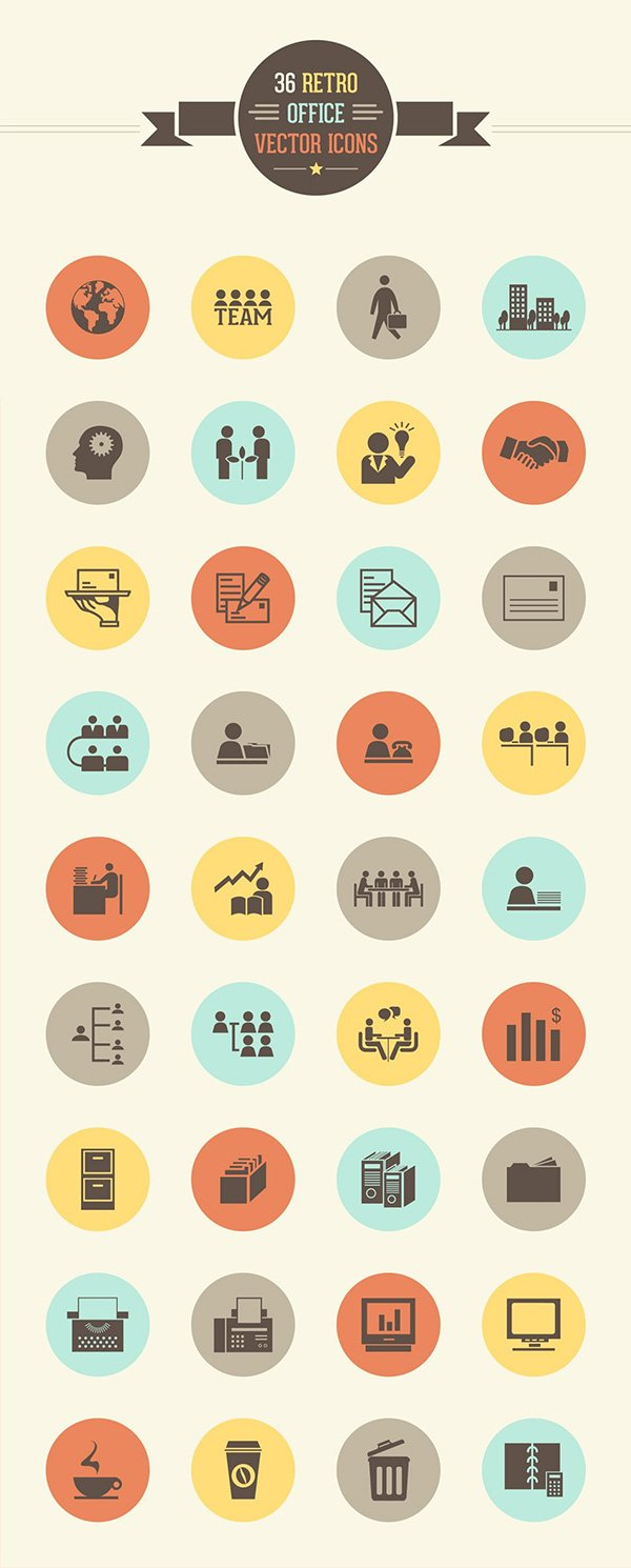36 Retro Office Vector Icon Set