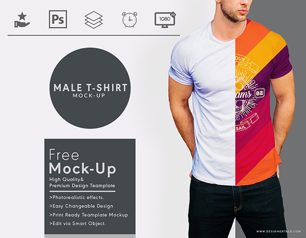 Round Neck Men T-shirt Mock Up