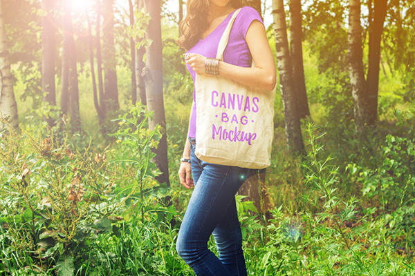Girl Holding Canvas Bag Free Mockup