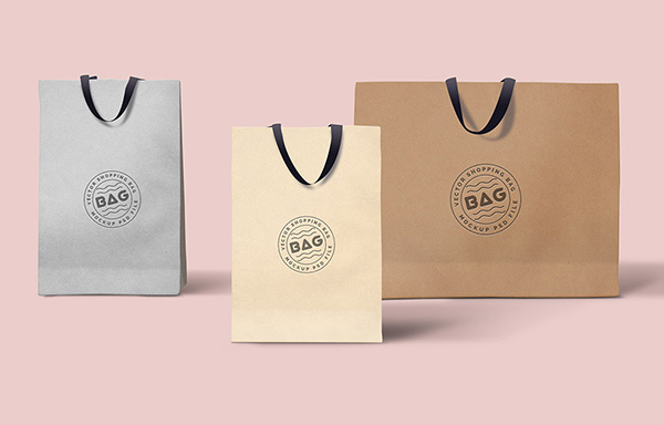 3 Shopping Bags Mockups PSD Template