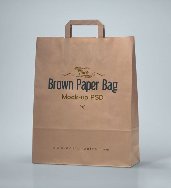 Free Brown Shopping Bag Packaging Mock-up PSD