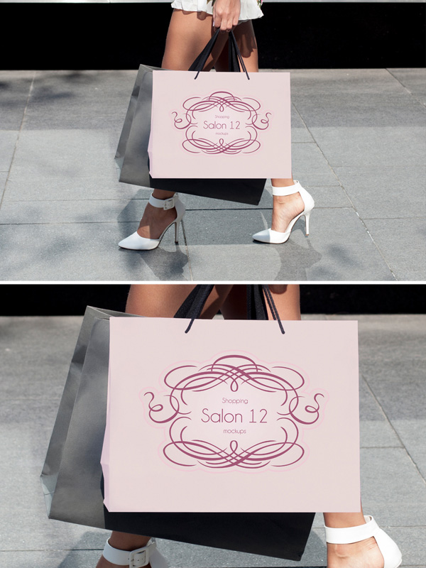 Model Holding a Shopping Bag Free Mockup
