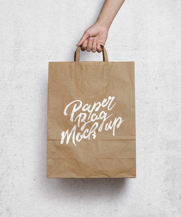 Brown Paper Shopping Bag Free MockUp