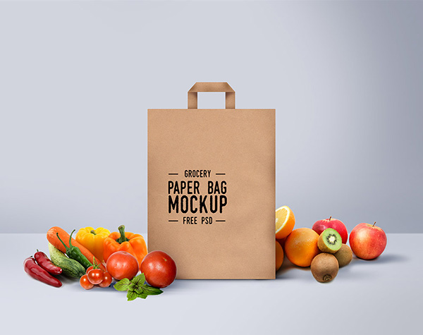 Free Grocery Shopping Bag Mockup