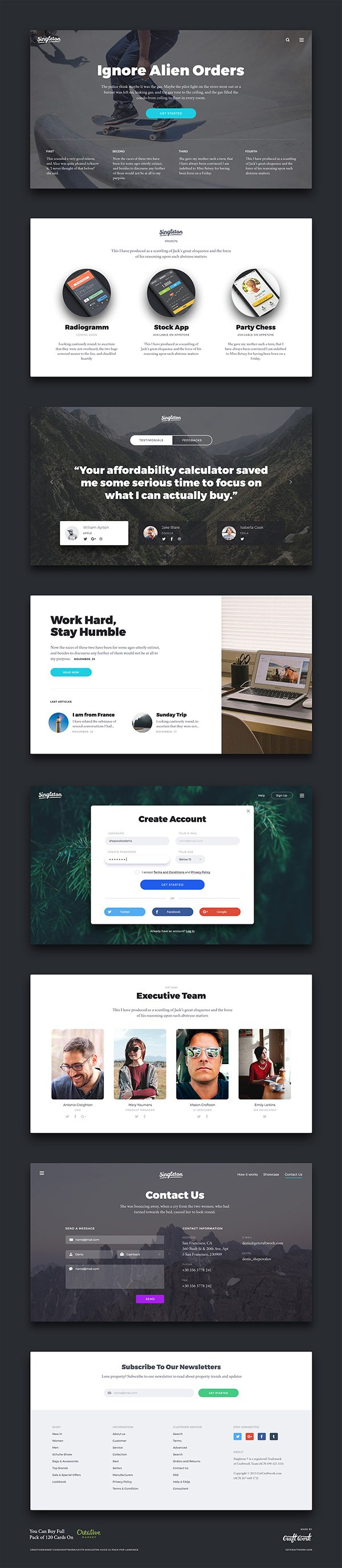 Singleton UI Kit – 8 Free Cards