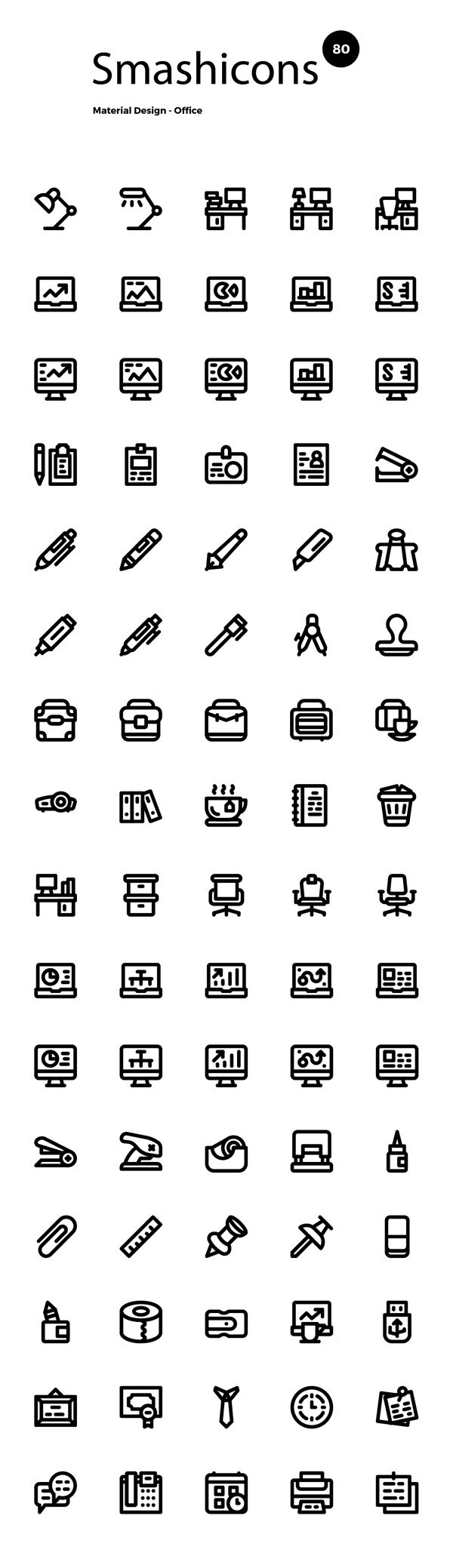 80 Material Office Icons