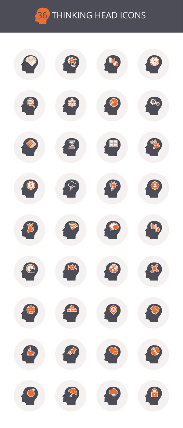 36 Thinking Icons PSD