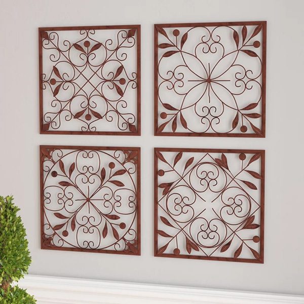 4 Piece Bronze Iron Wall Décor Set
