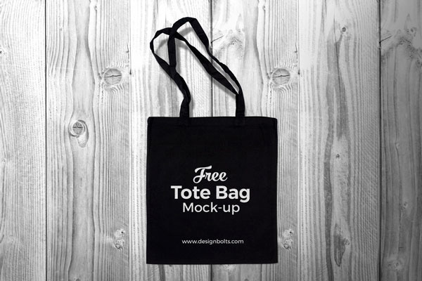 Free Black Tote Bag Mock-up PSD
