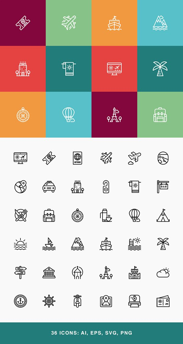 Travel & Vacation Icon Set
