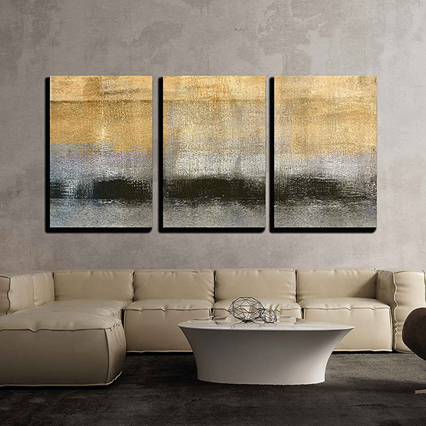 Abstract Landscape with Golden Black and Grey Color - 3 Piece Canvas Wall Art