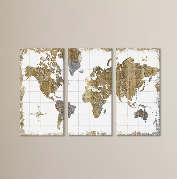 Gilded Map - Canvas Art Print