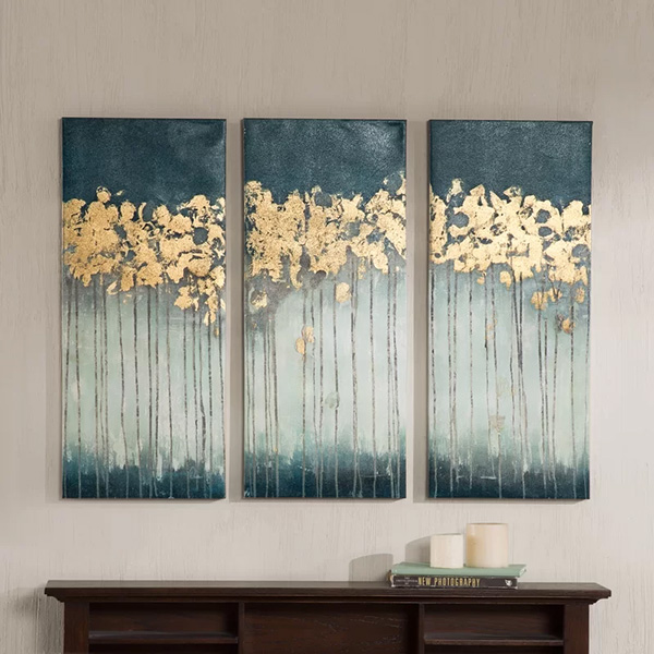 Midnight Forest - Gel Coat Canvas Wall Art with Gold Foil Embellishment