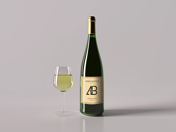Free Realistic Champagne Bottle and Glass Mockup