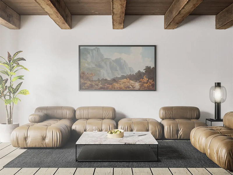Poster in Living Room - Free PSD Mockup