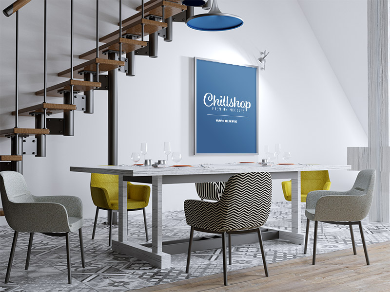 Poster in Modern Dining Room - Free PSD Mockup