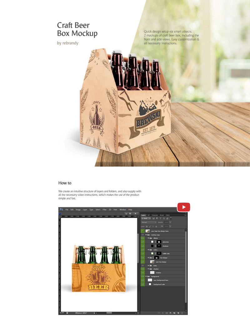 Craft Beer Box Mockup - Front & Side View
