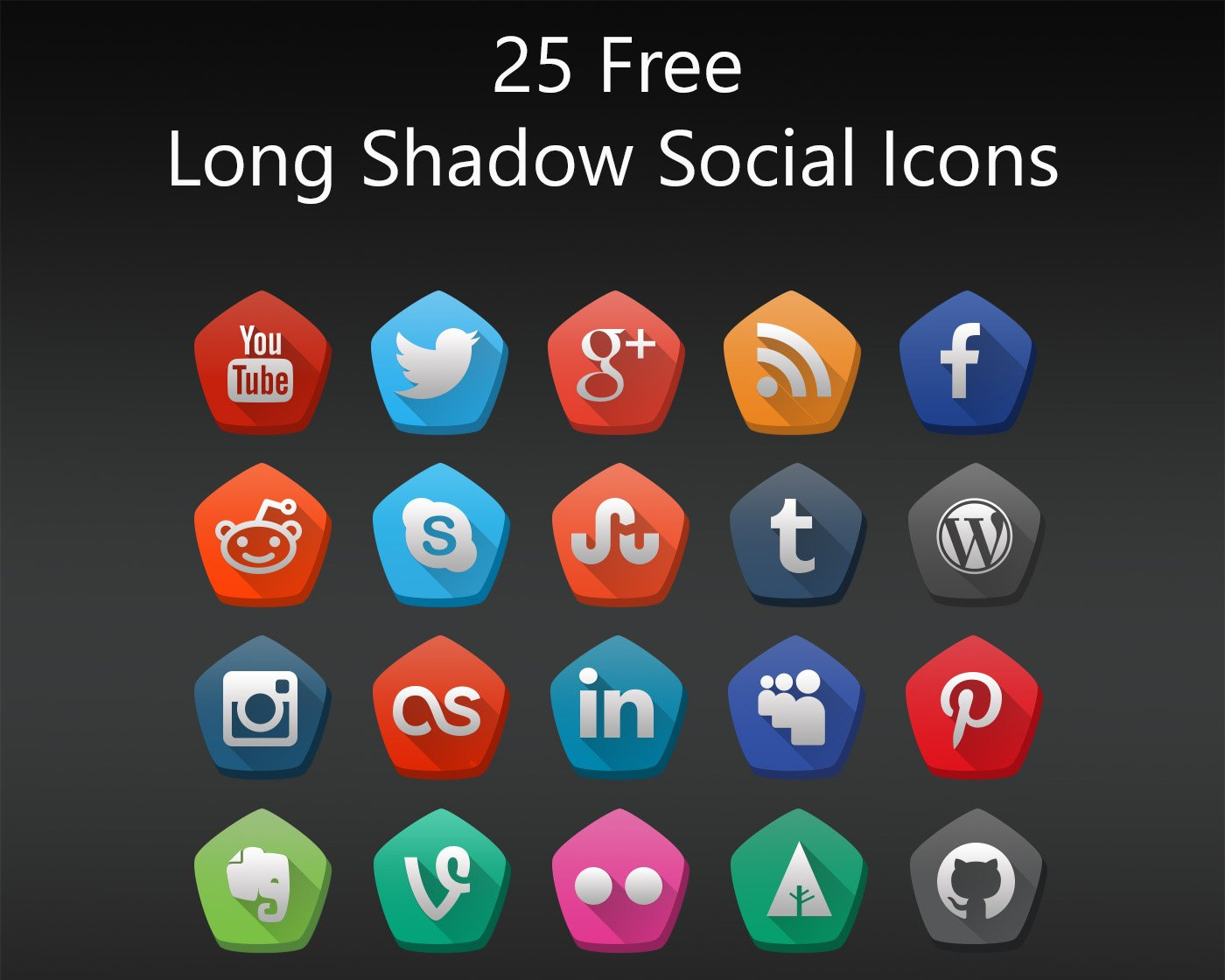 25 Free Long Shadow Social Icons