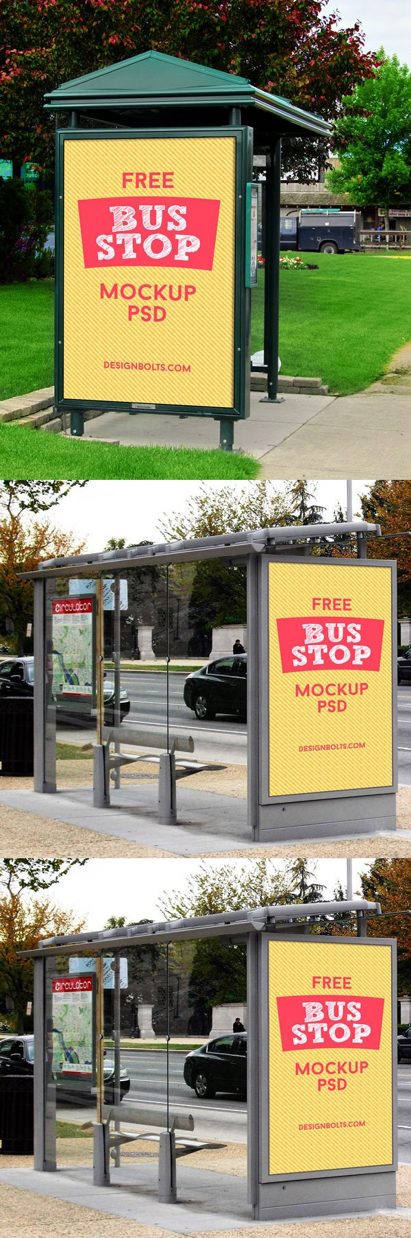 3 Free HQ Outdoor Advertising Bus Stop Mockup