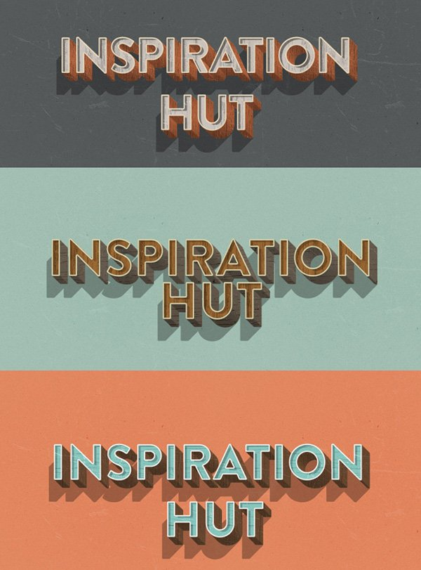 3 Retro 3D Wood Text Layer Styles for Photoshop