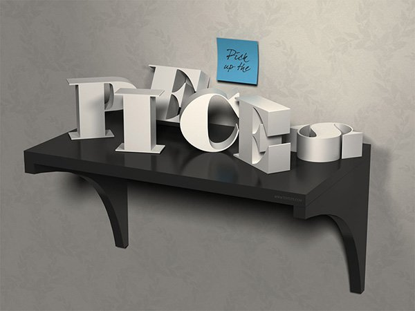 3D Letters on a Shelf Text Effect in Photoshop CC