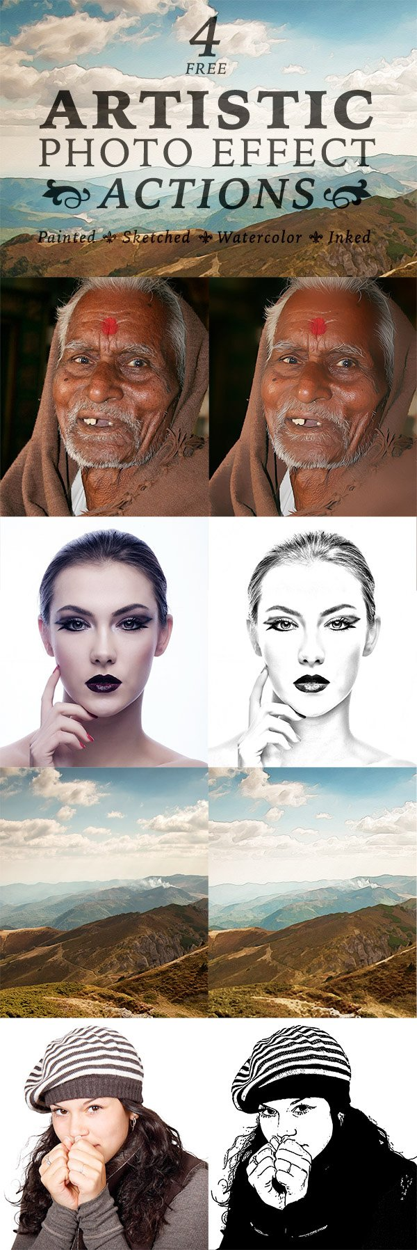 4 Free Artistic Paint, Sketch & Ink Photo Effect Actions