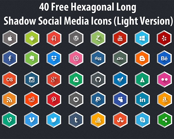 40 Free Hexagonal Long Shadow Social Media Icons (Light Version)