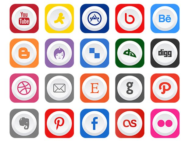 40 Rounded Flat Social Media Icons