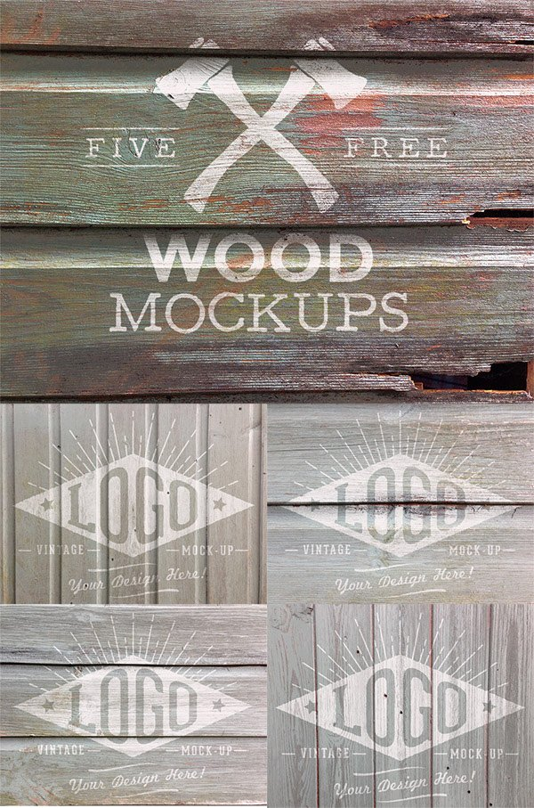 5 Free Weathered Wood Logo Mock Ups