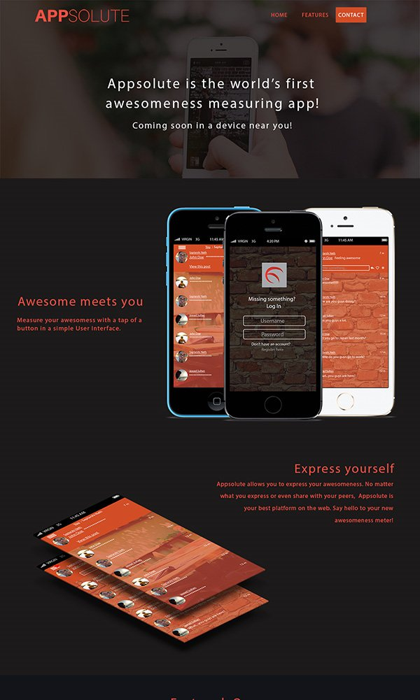 APPSOLUTE Landing Page Website Template
