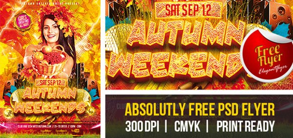 Autumn Weekends – Free Club and Party Flyer PSD Template