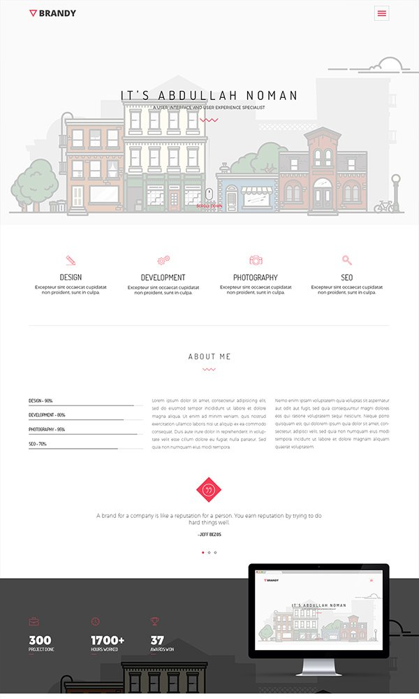 BRANDY - Free Portfolio Website Template