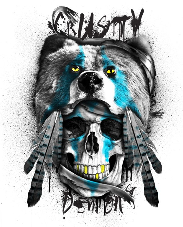 Bear Head Tee Graphic For Crusty Demons