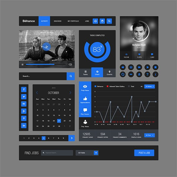 Behance Style Flat Ui Kit