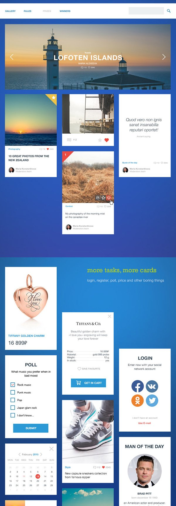 Boring cards UI kit
