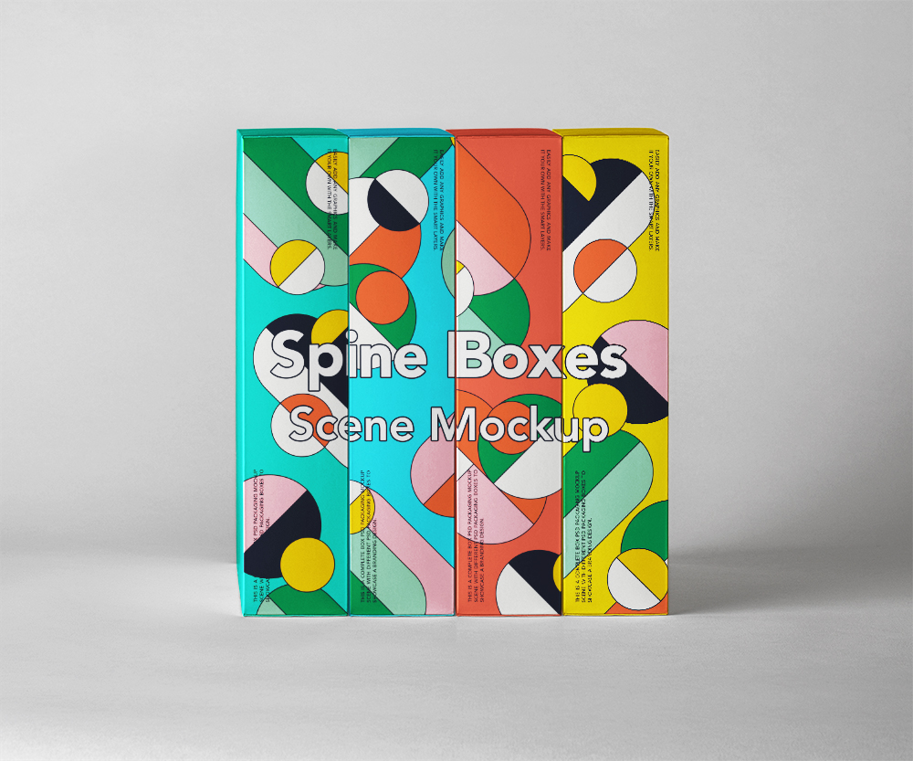 Spine Boxes Packaging Mockup - Free PSD
