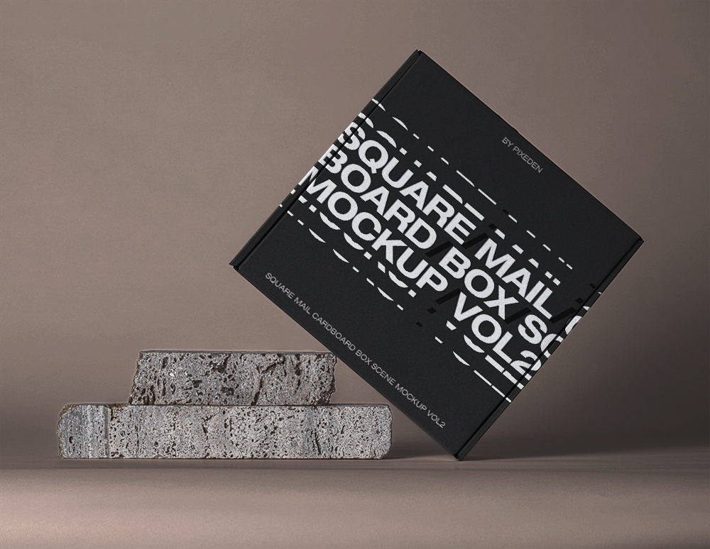 Tilted Square Mail Cardboard Box Mockup - Free PSD Template