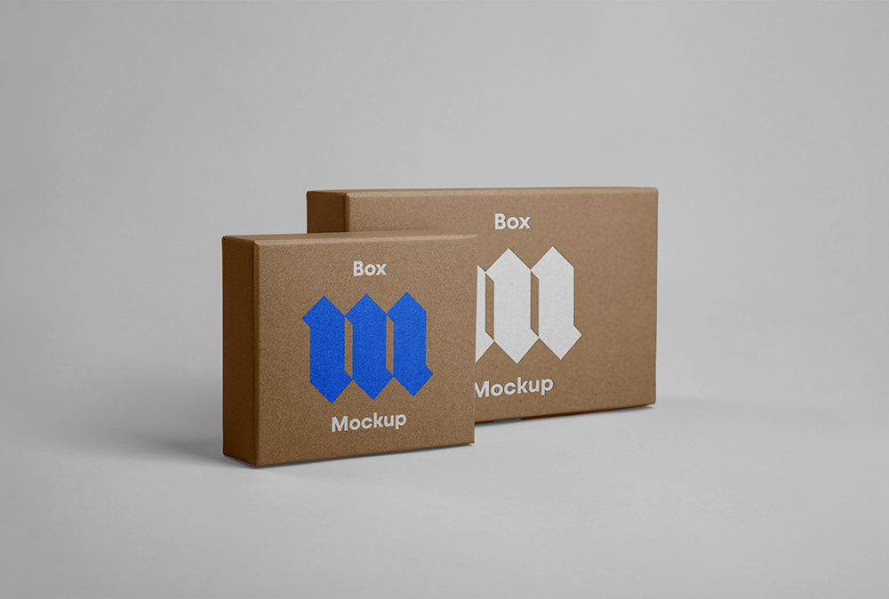 Standing Paper Boxes - Free PSD Mockup