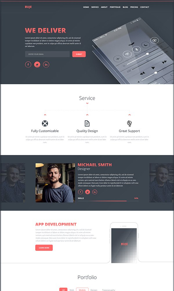 Buje - One Page PSD Web Template
