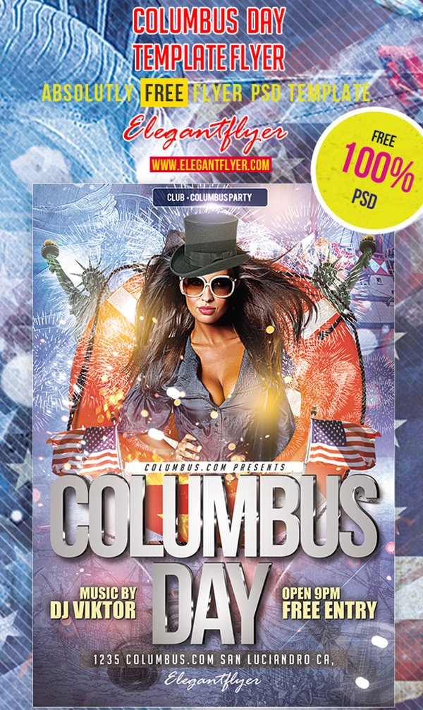 Columbus Day – Club and Party Free Flyer PSD Template