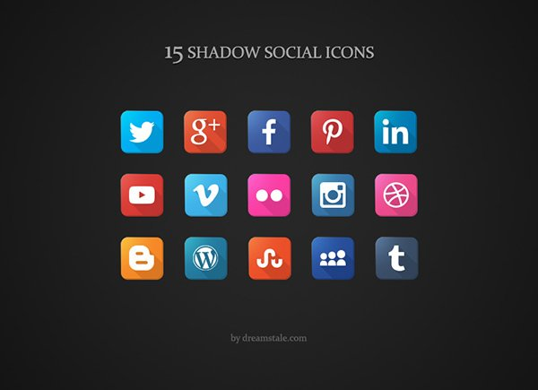 Download 15 Free Social Long Shadow Icons