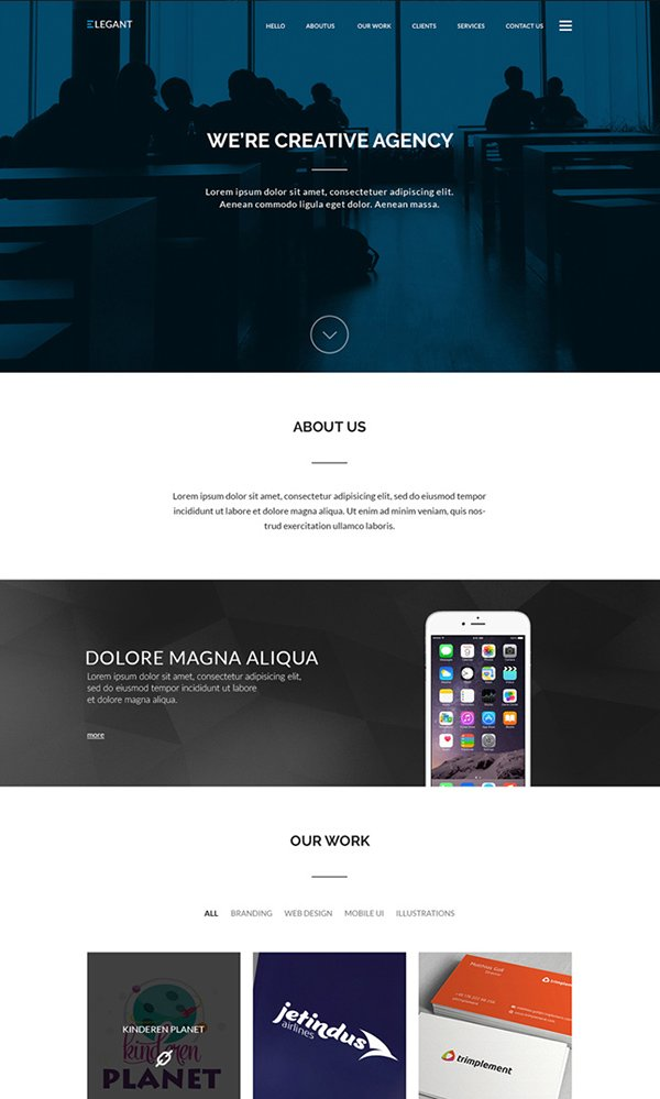 Elegant - One Page Website