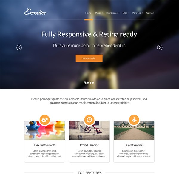 Emmeline - Multipurpose Website PSD Template Free