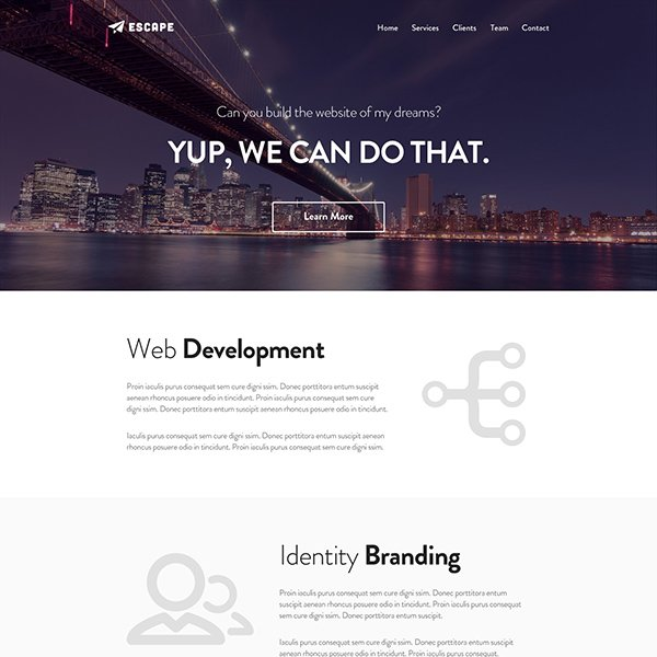 Escape – One Page PSD Web Template
