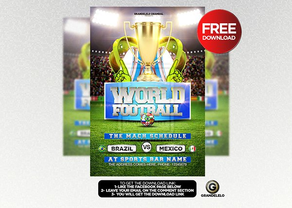 FREE DOWNLOAD World Soccer Cup Flyer Template PSD