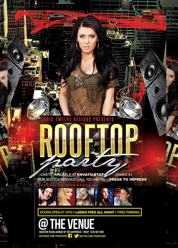 FREE Rooftop Party | Flyer + FB Cover